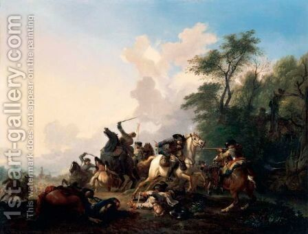 A Cavalry Skirmish In A Wooded Landscape by Jan von Huchtenburgh - Reproduction Oil Painting