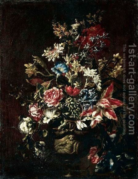 A Still Life Of Carnations, Lilies, Peonies, Irises And Other Flowers In Stone Urn On A Pedestal by dei Fiori (Nuzzi) Mario - Reproduction Oil Painting