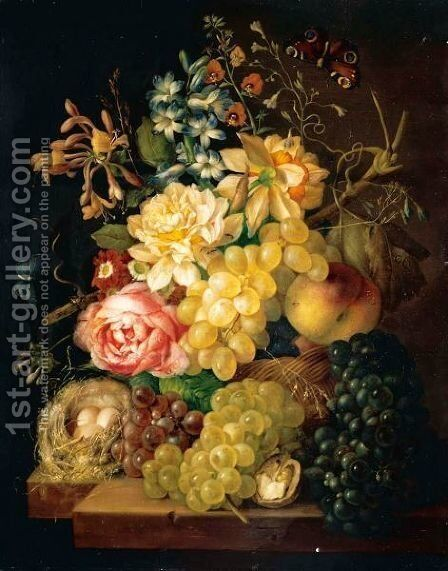 Still Life Of Roses, Honeysuckle And Other Flowers With Peaches And Grapes In A Basket, Togther With Grapes, Half A Walnut And A Birds Nest Upon A Ledge by Johann Baptist Drechsler - Reproduction Oil Painting