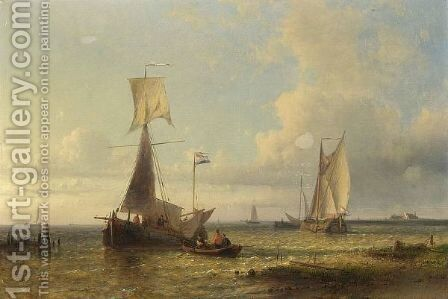 Shipping In A Calm by Abraham Hulk Jun. - Reproduction Oil Painting