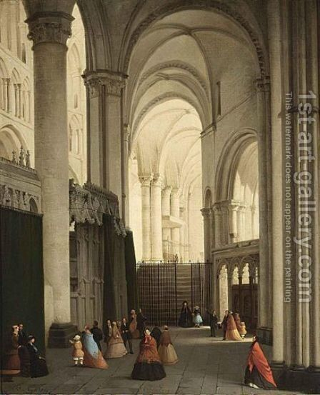 Figures In Canterbury Cathedral by Bernard Neyt - Reproduction Oil Painting