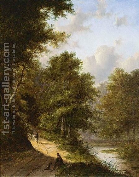A Hunter And His Dog Resting In A Wooded Landscape by Jan Evert Morel - Reproduction Oil Painting