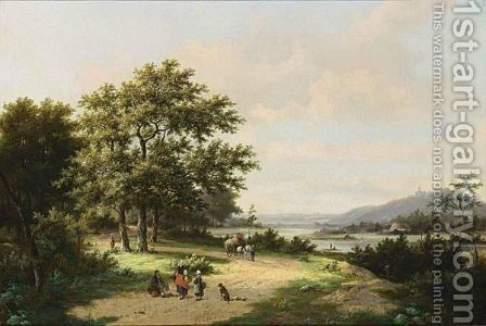 Figures On A Country Road by Hendrik Pieter Koekkoek - Reproduction Oil Painting