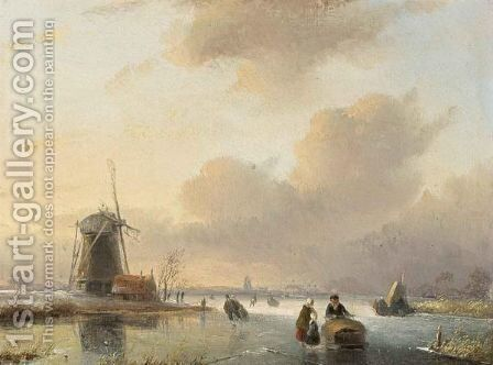 Skating Figures By A Windmill by Jan Jacob Coenraad Spohler - Reproduction Oil Painting