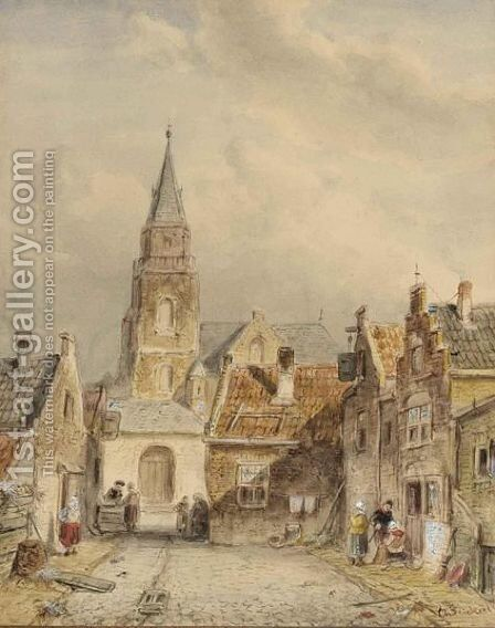 Figures In The Streets Of Scheveningen by Charles Henri Leickert - Reproduction Oil Painting