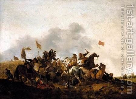 Cavalry Skirmish by Philips Wouwerman - Reproduction Oil Painting