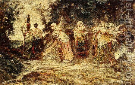 At The Well by Adolphe Joseph Thomas Monticelli - Reproduction Oil Painting