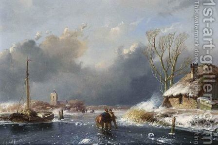Skaters On A Frozen Waterway by Andreas Schelfhout - Reproduction Oil Painting