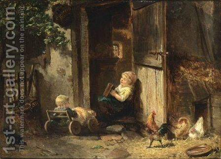 Taking Care Of Baby Brother by Jan Mari Henri Ten Kate - Reproduction Oil Painting