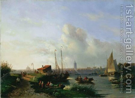 A River Landscape With Figures In Rowing Boats, A Town Beyond by Charles Henri Leickert - Reproduction Oil Painting