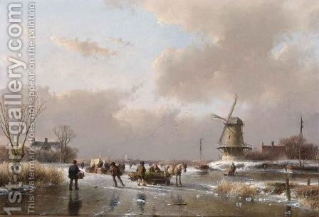 Skaters On A Frozen River Near A  A'Koek En Zopie A' by Andreas Schelfhout - Reproduction Oil Painting