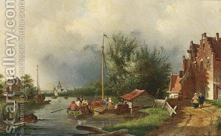 A Summer Landscape With Boats On A River by Charles Henri Leickert - Reproduction Oil Painting
