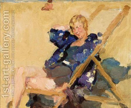 A Lady In A Beach Chair by Isaac Israels - Reproduction Oil Painting