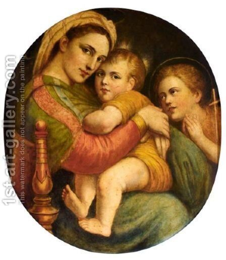 The Madonna Della Sedia by (after) Raphael (Raffaello Sanzio of Urbino) - Reproduction Oil Painting