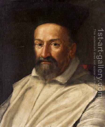 Portrait Of A Prelate, Head And Shoulders, Wearing White Robes And A Black Hat by (after) Scipione Pulzone - Reproduction Oil Painting
