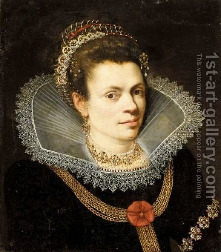 A Portrait Of A Lady, Head And Shoulders, Wearing A Black Dress, A White Ruff, A Pearl Necklace And A Diadem In Her Hair by (after) Joseph The Elder Heintz - Reproduction Oil Painting