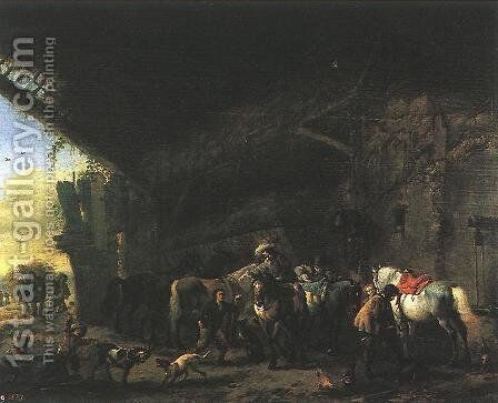 Scene In Front Of An Inn by Philips Wouwerman - Reproduction Oil Painting
