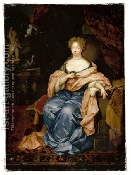 Portrait Of A Lady Seated In An Interior, Full Length, Wearing A Blue Silk Dress With A Pink Silk Shawl by Constantin Netscher - Reproduction Oil Painting