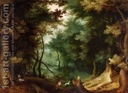 A Wooded Landscape With Hunters And Their Dogs. by (after) Jan The Elder Brueghel - Reproduction Oil Painting