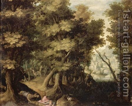 Landscape With The Death Of The Disobedient Prophet by (after) Gillis Van Coninxloo - Reproduction Oil Painting
