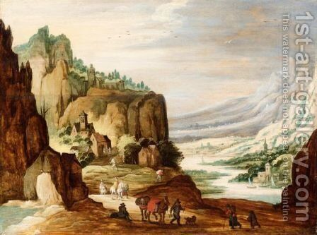 A Mountainous River Landscape With Travellers On A Path In The Foreground by (after) Joos De Momper - Reproduction Oil Painting