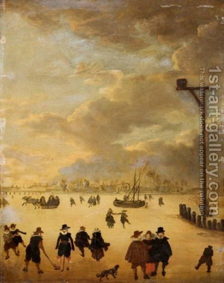 A Winter Landscape With Elegant Figures Skating And Playing Kolf On A Frozen River by (after) Anthonie Verstraelen - Reproduction Oil Painting