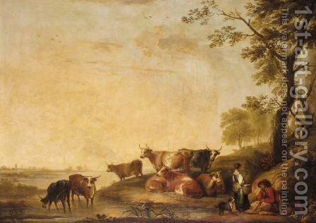 Peasants And Cattle In A River Landscape by (after) Aelbert Cuyp - Reproduction Oil Painting