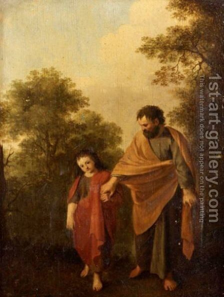The Young Christ And Saint Joseph Walking In A Landscape by (after) Jan Van Haensbergen - Reproduction Oil Painting