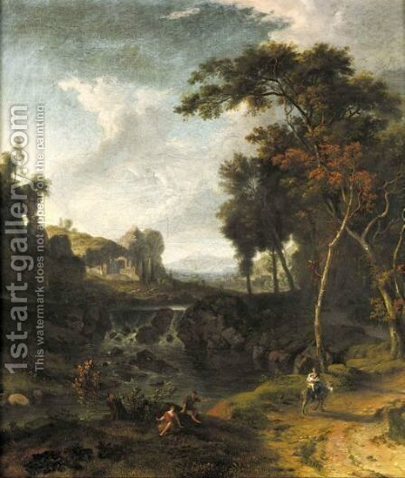 A Classical Landscape With A Mother And A Child On A Donkey by Albert Meyering - Reproduction Oil Painting