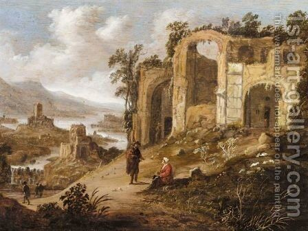 An Extensive River Landscape With Figures Resting Before Ruins by Dirck Verhaert - Reproduction Oil Painting
