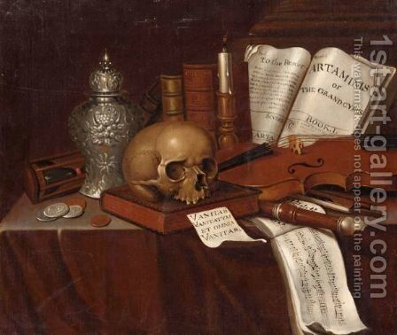 A Vanitas Still Life With A Skull by Pieter Gerritsz. van Roestraten - Reproduction Oil Painting