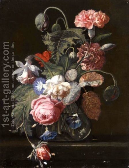 Still Life With Carnations, Roses, Poppies And Other Flowers In A Vase by (after) Simon Pietersz. Verelst - Reproduction Oil Painting