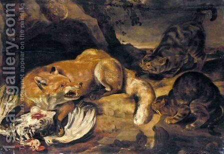 A Fox Guarding A Chicken From Two Cats by (after) Pieter De Vos - Reproduction Oil Painting