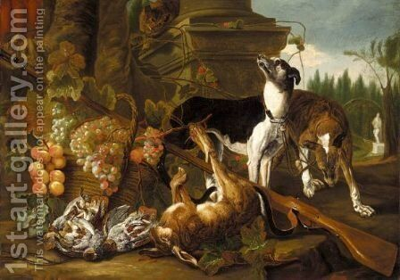 A Still Life Of Two Greyhounds, A Hare, A Cat And Partridges Together With A Musket And Baskets Of Fruit, In A Parkland Setting by (after) Jan Fyt - Reproduction Oil Painting