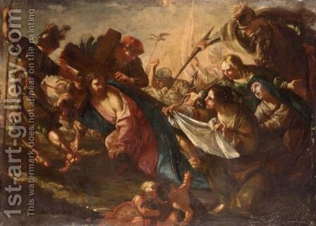 Christ And Saint Veronica On The Road To Calvary by (after) Luca Giordano - Reproduction Oil Painting