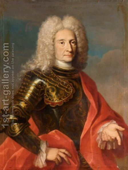 Portrait Of A Gentleman, Half Length Wearing Armour And A Red Cloak by (after) Bartolomeo Nazzari - Reproduction Oil Painting