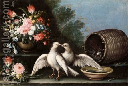 Still Life Of Two Doves, A Nest In A Basket, Flowers In An Urn And A Bowl Of Water, Together In A Landscape by Italian School - Reproduction Oil Painting