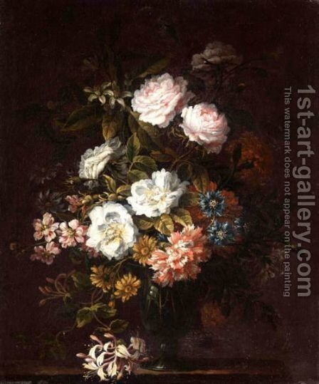 Carnations, Roses And Peonies With Other Flowers In A Glass Set On On A Stone Ledge. by (after) Jean-Baptiste Monnoyer - Reproduction Oil Painting