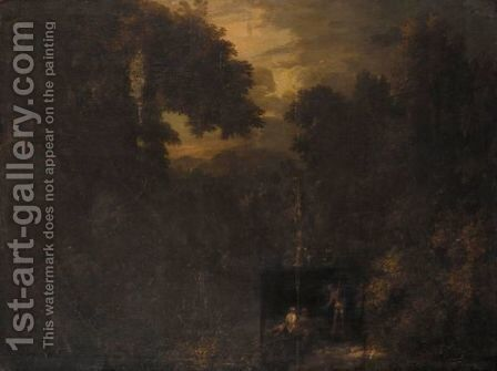 A Pastoral Wooded Landscape With Three Figures In The Foreground by (after) Gaspard Dughet - Reproduction Oil Painting