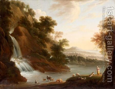 An Italianate Landscape With Drovers Beside A Waterfall by Martinus De La Court - Reproduction Oil Painting