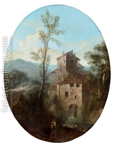 Mountainous River Landscape Wih Figures Before A House by North-Italian School - Reproduction Oil Painting