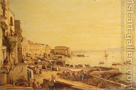 Naples, A View Of The Harbour With Vesuvius Beyond by (after) Giacinto Gigante - Reproduction Oil Painting