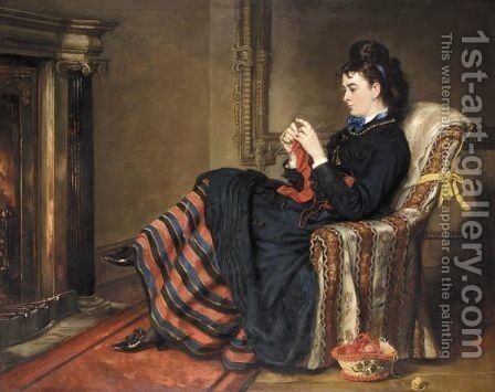 Knitting A Stocking by Sir Francis Grant - Reproduction Oil Painting