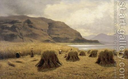 Harvest At Loch Carron, Ross-Shire by Duncan Cameron - Reproduction Oil Painting