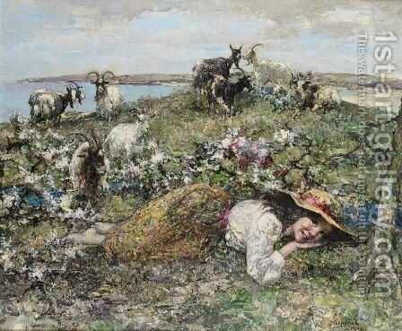 The Little Goat Herd by Edward Atkinson Hornel - Reproduction Oil Painting