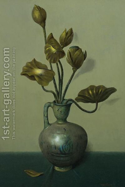 Still Life With Gilded Flowers by Harry Willson Watrous - Reproduction Oil Painting