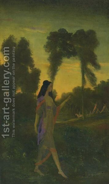 Indian Enchantment by Arthur Bowen Davies - Reproduction Oil Painting