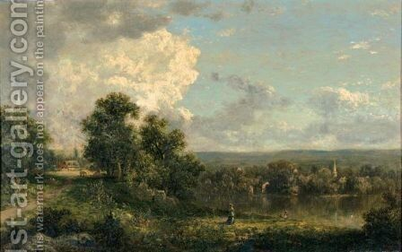 On The Housatonic River, Connecticut by David Johnson - Reproduction Oil Painting