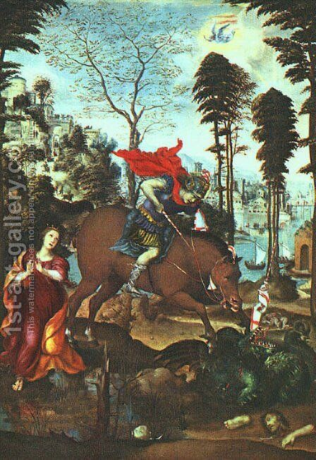 St George And The Dragon 1518 by Il Sodoma (Giovanni Antonio Bazzi) - Reproduction Oil Painting