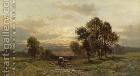 Covered Wagon And Cattle In A Landscape by Carl Weber - Reproduction Oil Painting